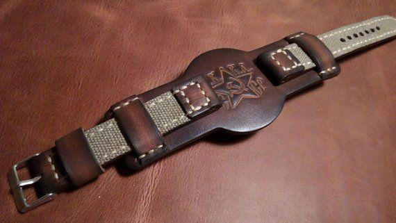 64eb0cd40 18/20/22 mm.Handmade vintage style military canvas leather bund watch strap.