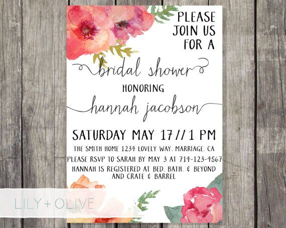 Customizable 5x7 Watercolor Flowers Bridal Shower Invite. This design is perfect for a cute and fun bridal shower! The wording can be fully