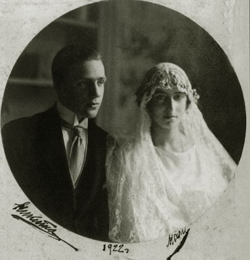1922 - Prince Nikita Alexandrovich Romanov, nephew of Tsar Nicholas II & Countess Maria Vorontzova-Dashkova on their wedding day. They had 2 children  // Nikita Alexandrovich of Russ. (13 Jan 1900 – 12 Sep 1974) ~ Son of Gr. Duke Alexander Mikhailovich/Gr. Duchess Xenia Alexandrovna, sis. of Nicholas II | Born in Imperial Russia during the reign of his uncle, Prince Nikita escaped the fate of many of his relatives who were killed by the Bolsheviks. He left Russ. in Apr 1919, at 19.