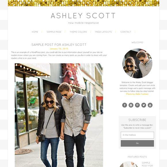 Ashley Scott Gold WordPress Theme by Studio Mommy on Creative Market