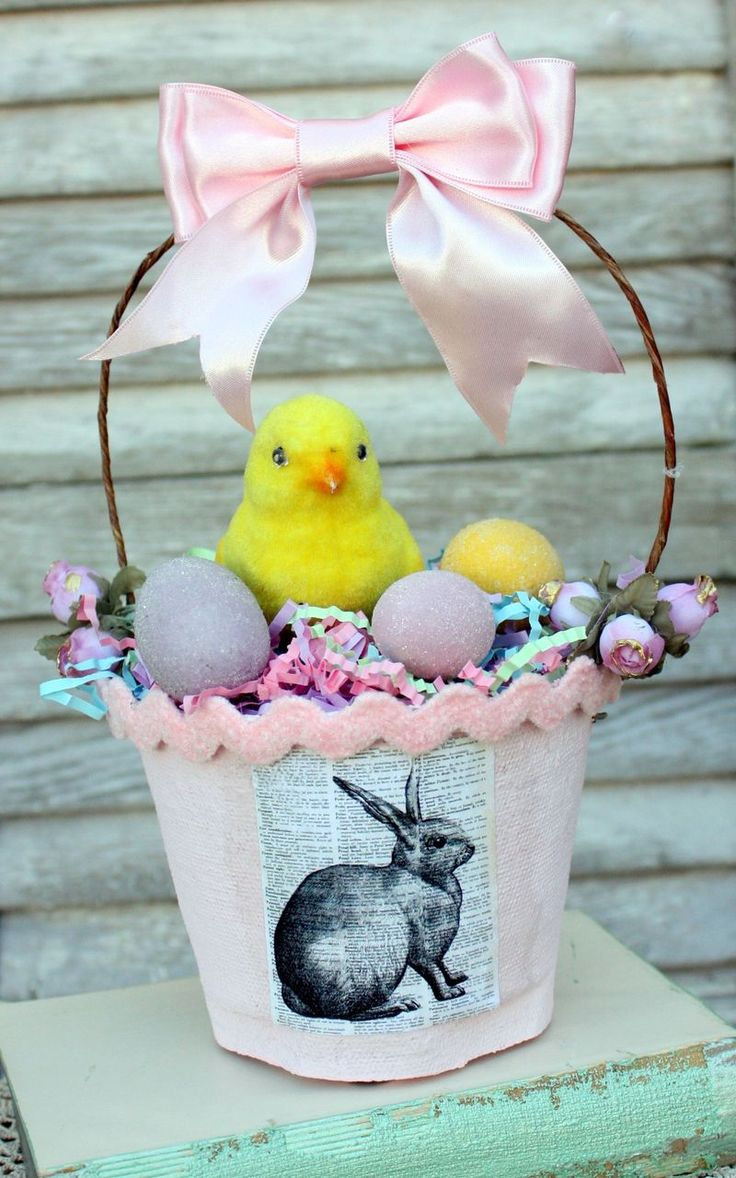 2135 best easter easter egg crafts images on pinterest easter peat pot easter basket using mod podge negle Images