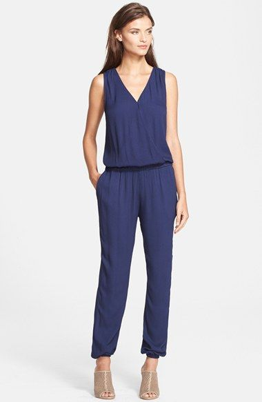 Free shipping and returns on Joie 'Corinne' Surplice Jumpsuit at Nordstrom.com. A surplice neckline emphasizes the flattering, fluid drape of a blouson-bodice jumpsuit elasticized at the waist and cuffs to create feminine definition.