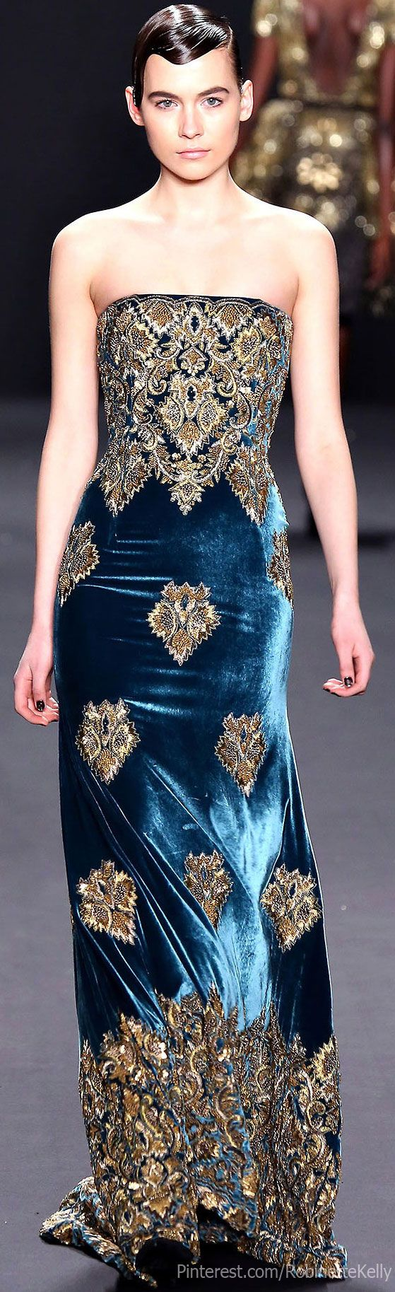 Naeem Khan Fall 2013 | Blue and Gold