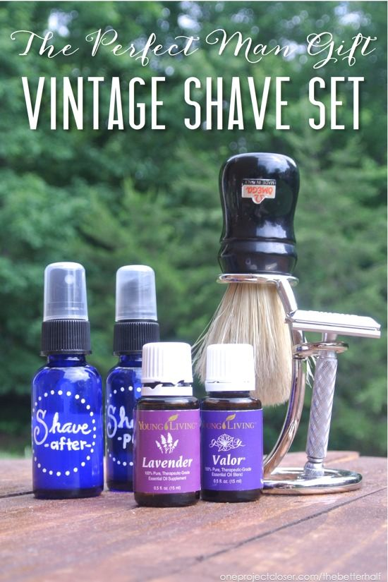 Vintage Shave set with recipes for pre shave and after shave using essential oils.