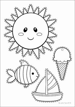 Summer Review Preschool No Prep Worksheets & Activities. Sun, fish, boat, ice cream cutting practice to make a summer mobile.