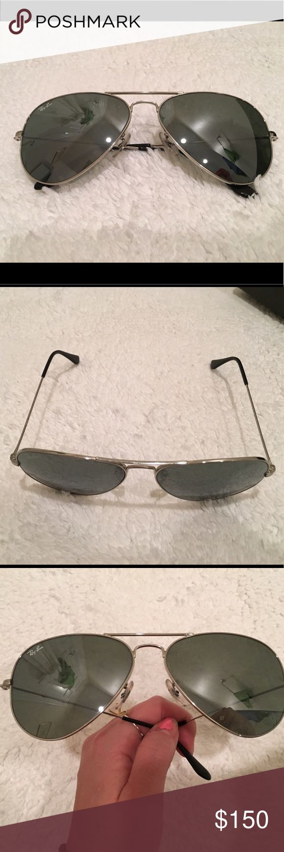 Classic Ray-Ban Aviator in silver mirror Worn once, original unopened cleaning cloth + case Ray-Ban Accessories Sunglasses