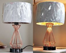 Copper Caged Industrial Retro Wired Diamond Shape Table Lamp and White Shade