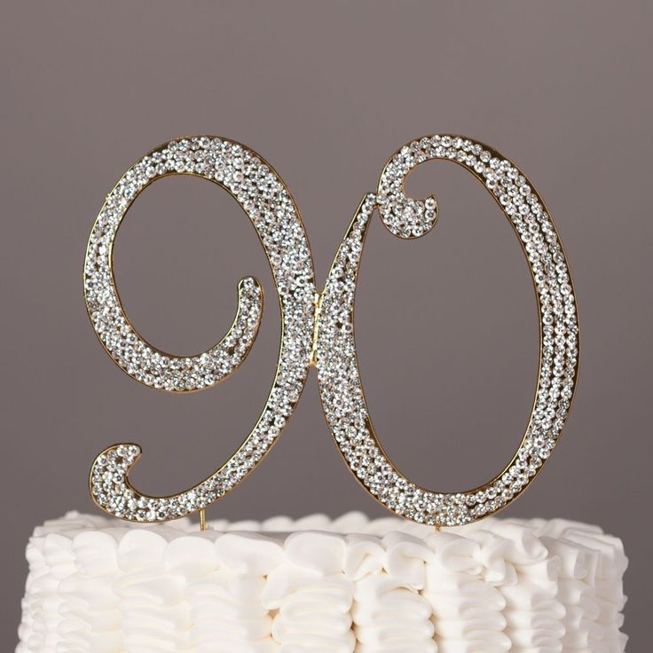 90 Gold Cake Topper 90th Birthday Party Decoration #EllaCelebration #BirthdayAdult