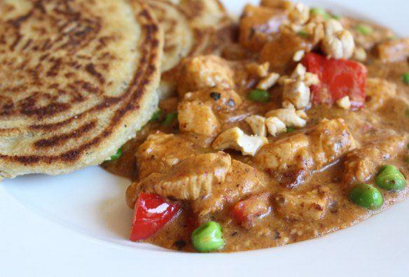 Paleo Challenge Day 27 - Naan Bread  Chicken Cashew Curry.