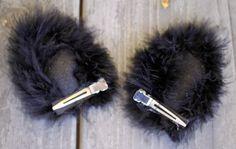 DIY: Black Cat Costume - ear hair clips instead of a headband