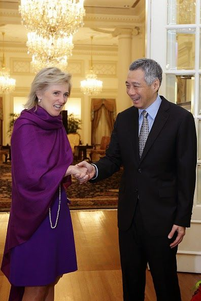Princess Astrid of Belgium (L) visits Prime Minister of Singapore, Lee Hsien Loong at the Istana on 27.11.2014 in Singapore. Princess Astrid of Belgium is in Singapore for a three days official visit to promote economic and research development between the two countries.