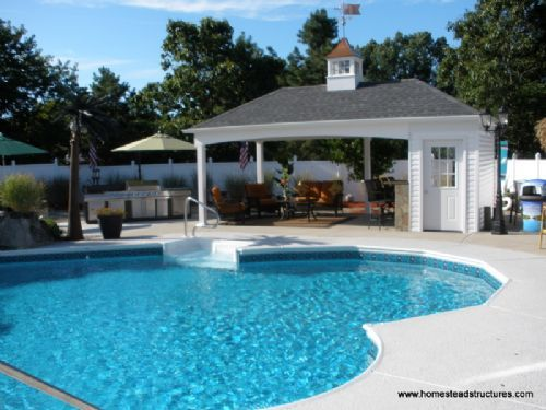 Best 25 pool house shed ideas on pinterest pool shed for Custom pool cabanas