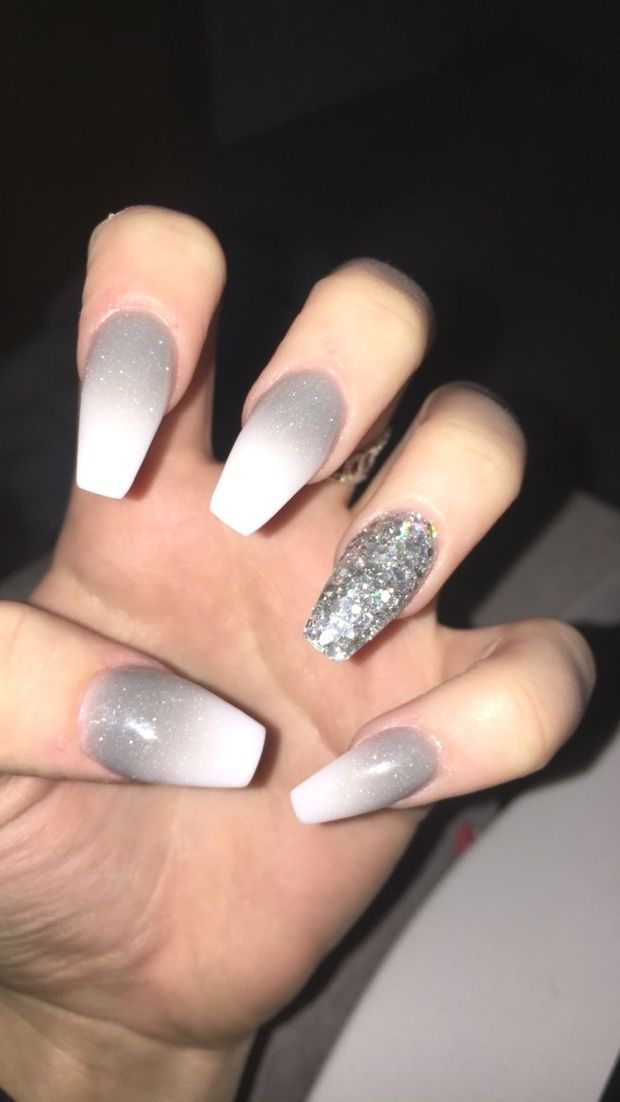 Grey Ombre With Silver Accent Nail Grey Ombre With Silver Accent Nail Grey Ombre With Silver Nails Prom Nails Grey Nail Designs