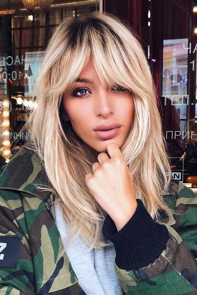 Blonde Hair With Side Fringe #haircutswithbangs #haircuts #longhaircut #blondehair #straighthair