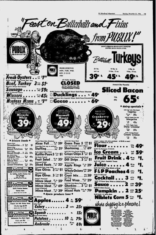 This day in St. Petersburg History 50 Years Ago November 21, 1966  Publix Thanksgiving Sale Ad in the Evening Independent.