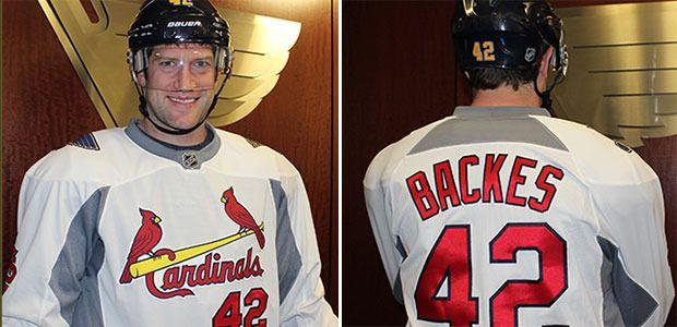 David Backes models his Cardinals hockey jersey. (St. Louis Blues)