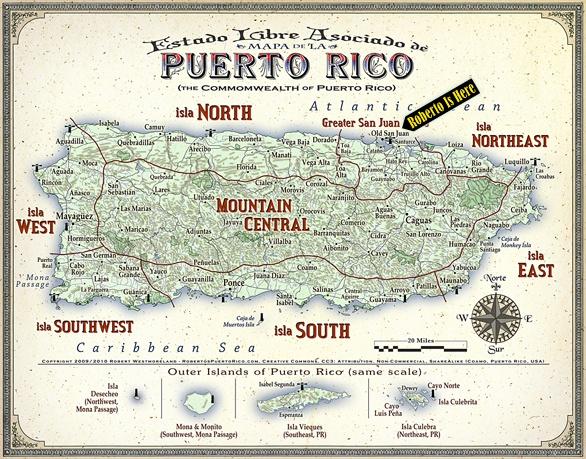 Nice retro Puerto Rico map.