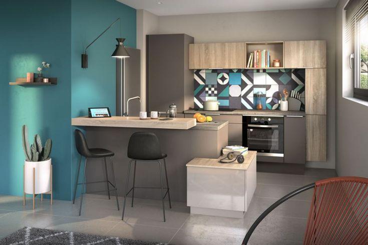 cuisine quip e moza k cuisine bois et grise cuisine quip e cuisine bois et decoration cuisine. Black Bedroom Furniture Sets. Home Design Ideas