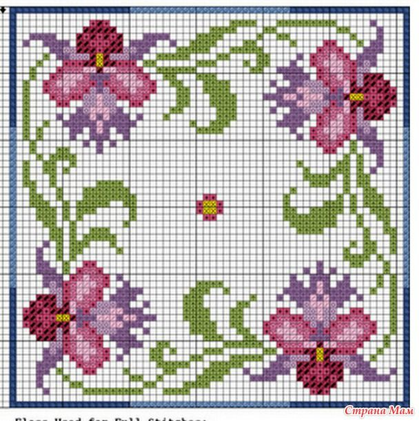 "Cross-stitch Floral Biscornu, part 1... no color chart available, just use pattern chart as your color guide.. or choose your own colors... Бискорню ""Тайланд"""