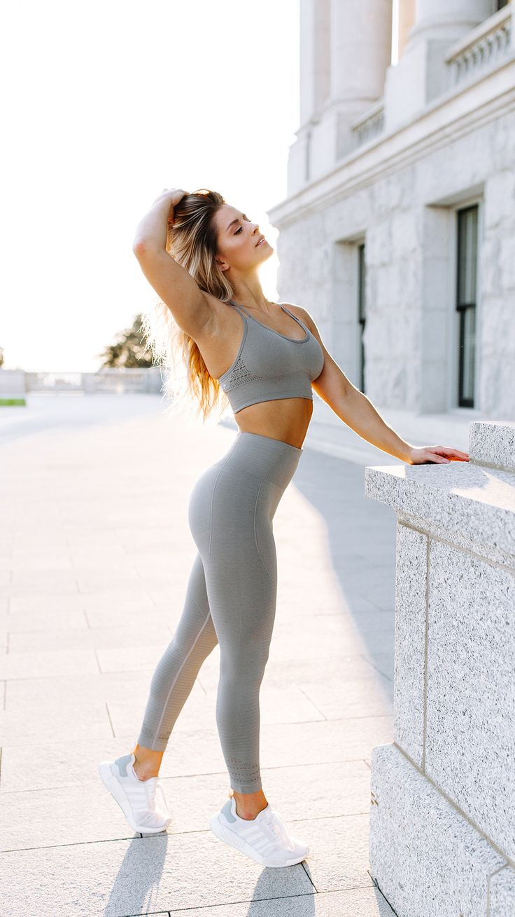 Whitney Simmons styling the Seamless Cross-Back Sports Bra and High Waisted Leggings.