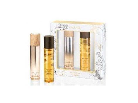 """""""Caudalie Parfum Divin  + Caudalie Huile Divin"""" Con Aromas de Rosa de Bulgaria, cedro de Virginia, esencia de rosa de Marruecos, vainilla y pimienta rosa."""