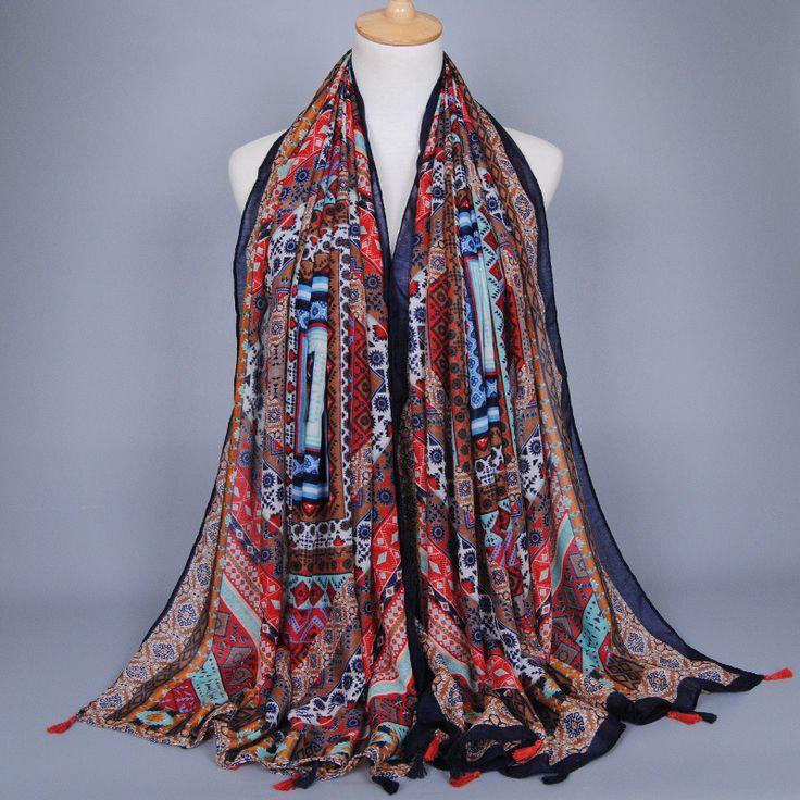 Bohemian Ethnic Plaid Tassel Viscose Shawl Scarf 2016 Fashion Brand Printe Cotton Voile Mujer Headband Foulard Soie Muslim Hijab