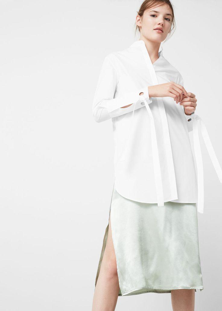 Camisa popelín lazos - Camisas de Mujer | MANGO España