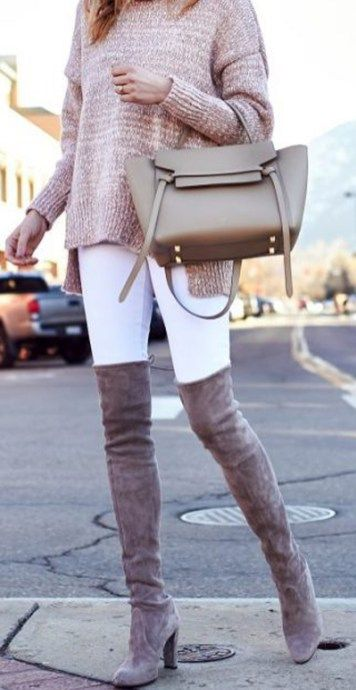 casual dressy winter outfits ideas for work - white with jeans - warm women sweater clothes - suede thigh high boots - www.poshiroo.com
