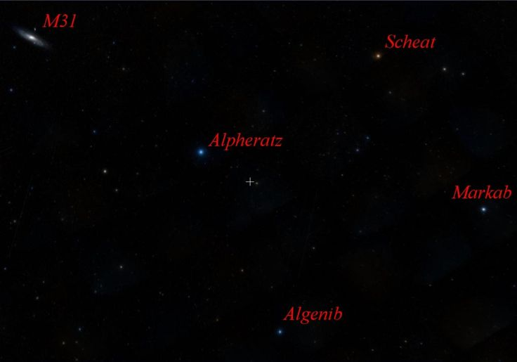 Andromeda Galaxy, Alpheratz and the Great Square of Pegasus