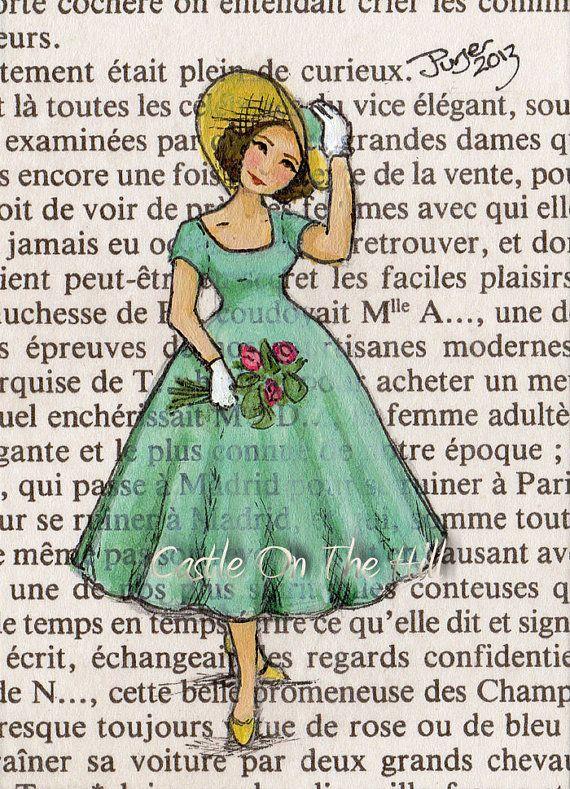 #florist Paris 1954 The Florist Original ACEO painting by CastleOnTheHill, $19.50
