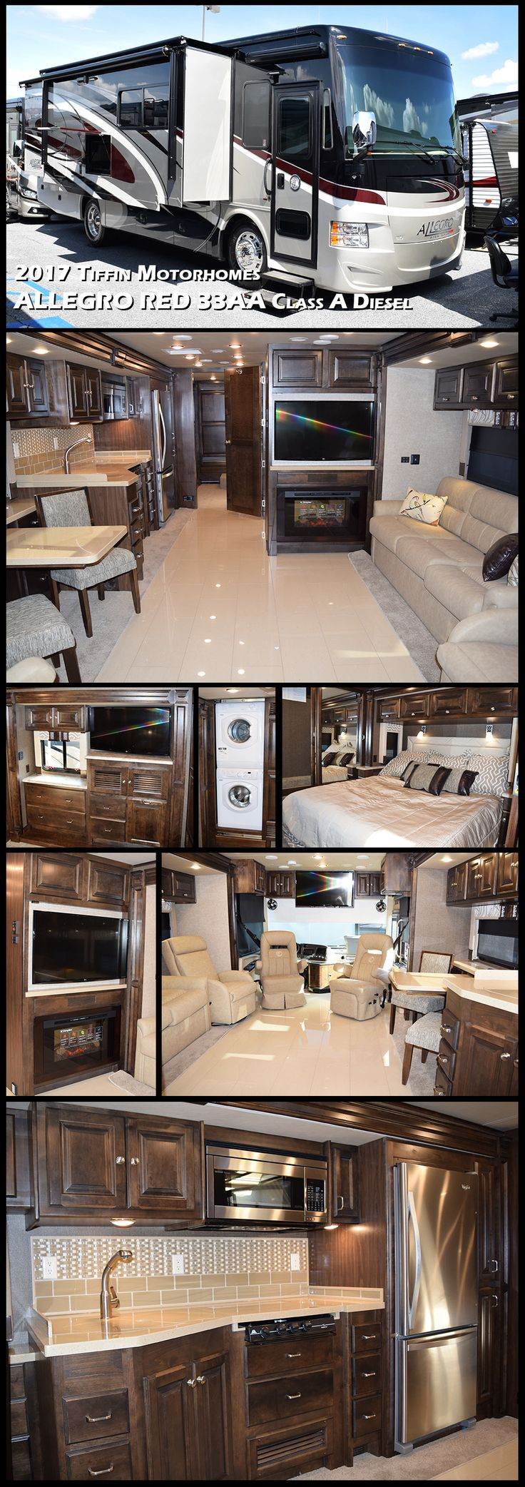 2017 Tiffin Motorhomes ALLEGRO RED 33AA -  The most value-packed model in the Tiffin line-up. This Class A Diesel ups the ante for other RV manufacturers. Combining the value of the classic Allegro with the power and fuel efficiency of a rear engine diesel, this entry-level pusher is perfect for your next power trip.