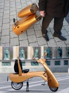 The Hungarian based design team first introduced the MOVEO folding electric scooter back in 2008, and now they have a fully functional prototype zipping around the city as they look to take this thing to the mass market. The lightweight scooter weighs in at 55 pounds, and can reach speeds of up to 28 miles per hour. The best part is that rather than searching for parking, the rider takes 2 minutes to fold this thing up into a roller suitcase like apparatus, and you're off.