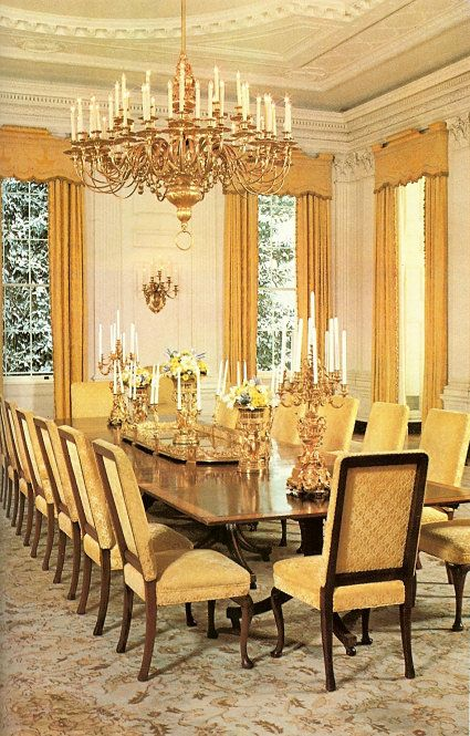 Voila, le plateau! This 1977 photo of the State Dining Room from the White House Historical Historical Association shows off the elegant bronze-dore plateau purchased for the residence from France by President Monroe in 1817. Almost 150 years later, the plateau was a favorite entertaining centerpiece of Jacqueline Kennedy's.
