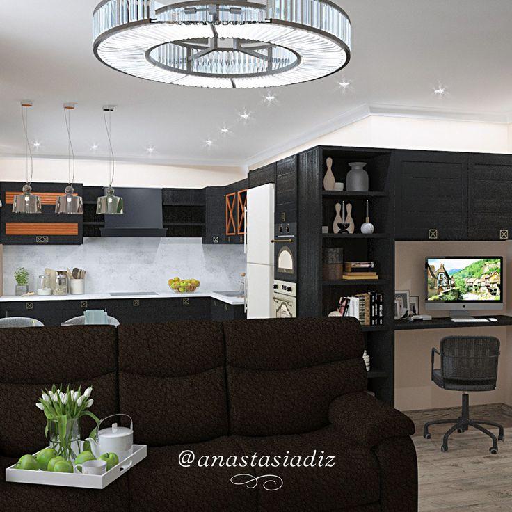 Обширное помещение с тремя зонами оформлено в едином стиле. Массивный диван чётко обозначает границу с гостиной. Гарнитур плавно переходит из кухонного в рабочий. Освещение также выдержано в соответствии с зонированием: три плафона над столом, большая дизайнерская люстра с регулировкой режимов для комфортного отдыха. #русскиедизайнеры #инстаграм #стиль #красота #дизайнстудия #дизайнпроект #дизайнквартиры #дизайндома #дизайнер #дизайн #студия #интерер #проект #bestinterior #interiorlover…