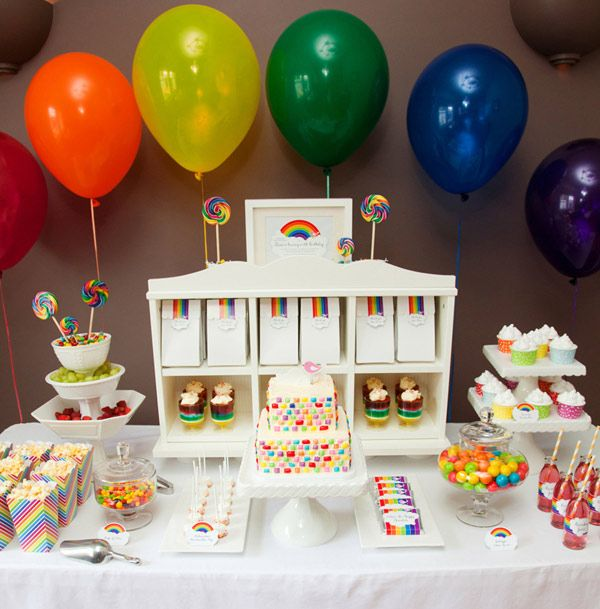 There aren't enough birthday's I get to pick and throw....WAH!Kids Parties, Child Parties, Sweets Tables, Birthday Parties, Rainbows Theme, Rainbows Birthday, Rainbows Parties, Parties Ideas, Desserts Tables