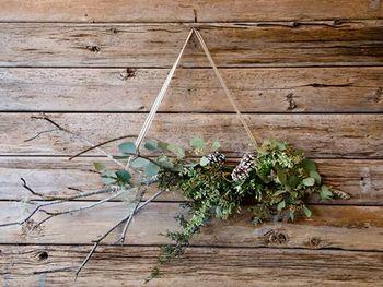 枝木にワイヤーやボンドを使ってユーカリなどのグリーンや松ぼっくりをあしらいます。木の枝両端に麻ヒモを結びつけ壁に引っ掛けます。