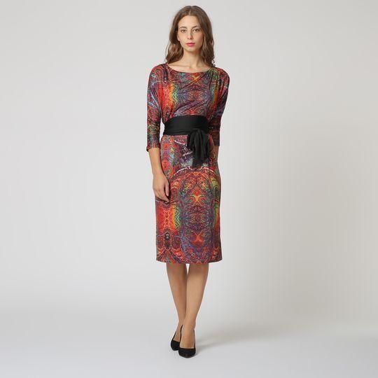 Vestido Con Estampado Étnico Multicolor