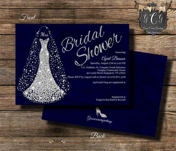 Wedding Dress Invitation, Bridal Shower invitation, wedding Shower invitation, Bridal Shower invitations, Bling Invitation Blue & Silver