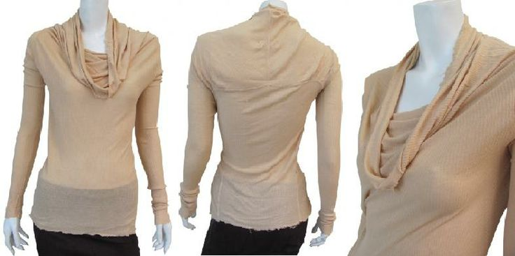 Peach pink viscose and cashmer wool blended ribbed long sleeve t-shirt with draped neckline, particular shape in the shoulder. #Women #Clothing