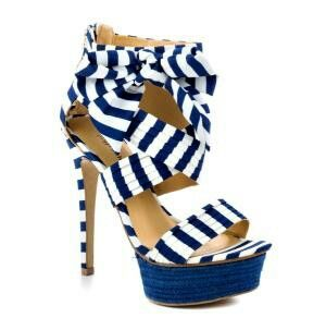 Very nautical blue & white striped strappy heels