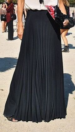 Pure Color Chiffon Pleated Big Long Skirt