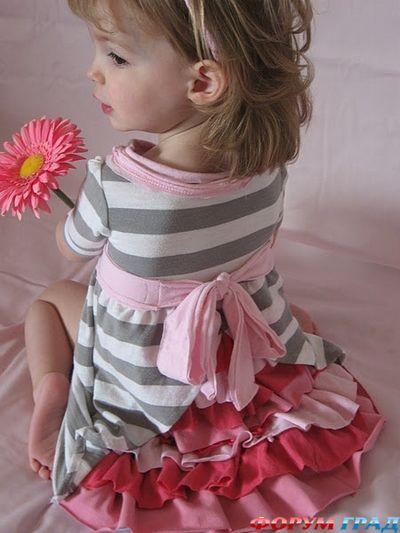 Переделки. Платье для дочки из папиной рубашки. . Обсуждение на LiveInternet - Российский Сервис Онлайн-Дневников