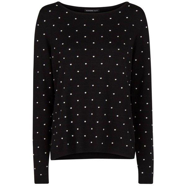 Mango Embossed Polka-Dot Sweatshirt, Black ($25) ❤ liked on Polyvore featuring tops, hoodies, sweatshirts, sweaters, shirts, long-sleeve shirt, side slit top, sleeve shirt, polka dot shirt and polka dot top