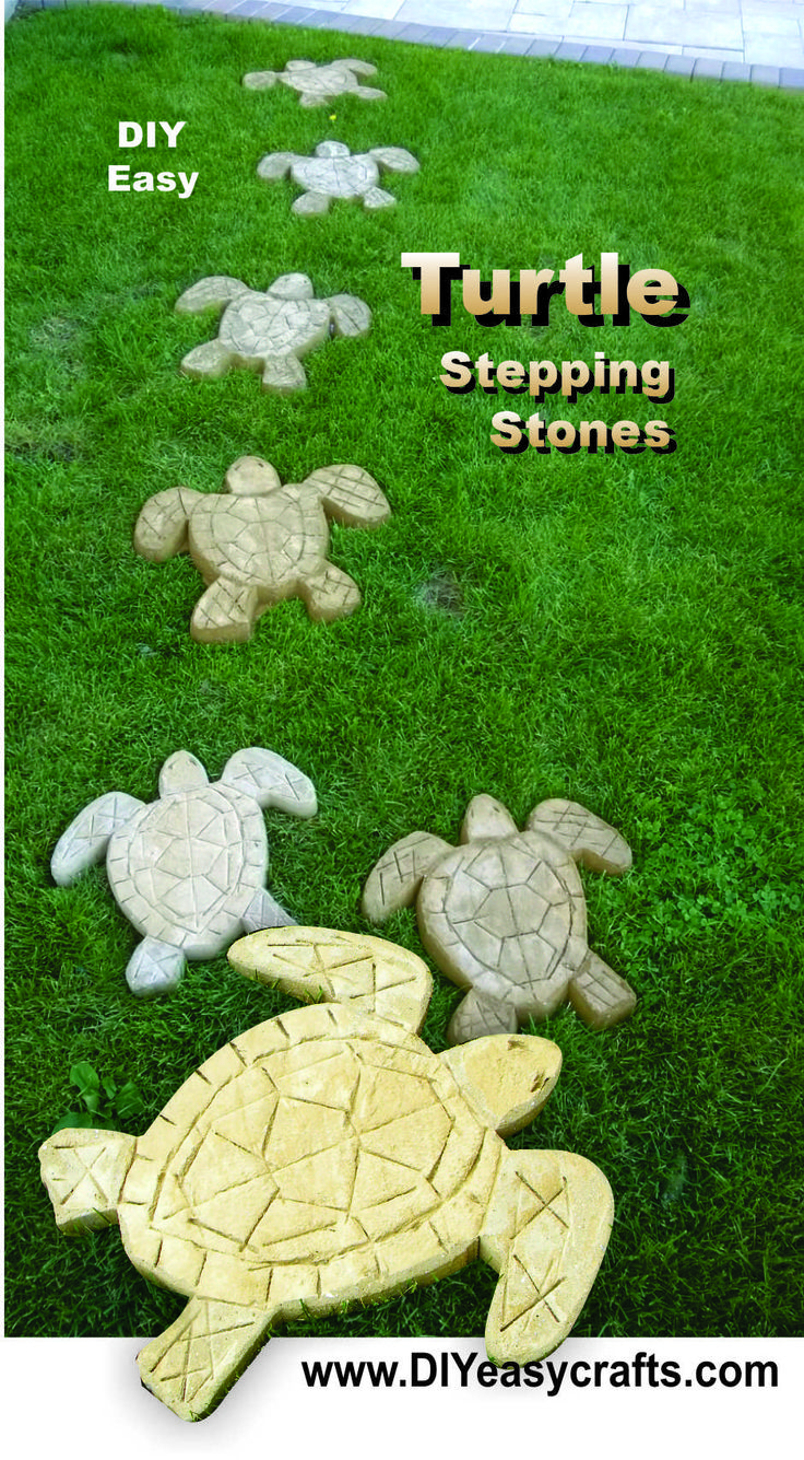 How to make Turtle Stepping Stones. Now you can easily make a mold for these turtle shaped cement stepping stones. Create a unique nautical themed pathway or just use the concrete turtles as a decorative piece in your garden or lawn. Check us out on the web http://www.diyeasycrafts.com/