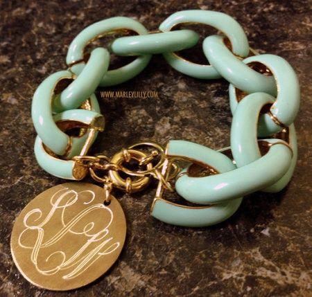 - monogrammed aqua link bracelet