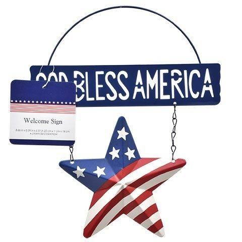American Patriotic Fourth 4th of July God Bless America Welcome Sign (Blue)