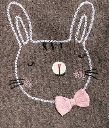 Product Detail | H&M US bunny embroidery with bow and applique