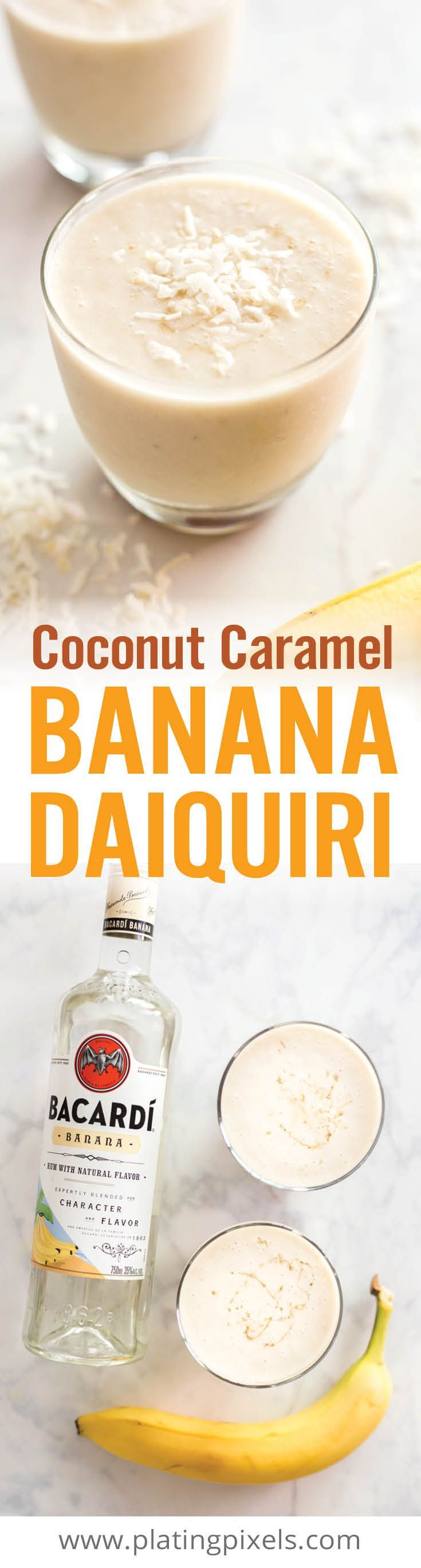 Coconut and Caramel Banana Daiquiri is an easy summer cocktail.