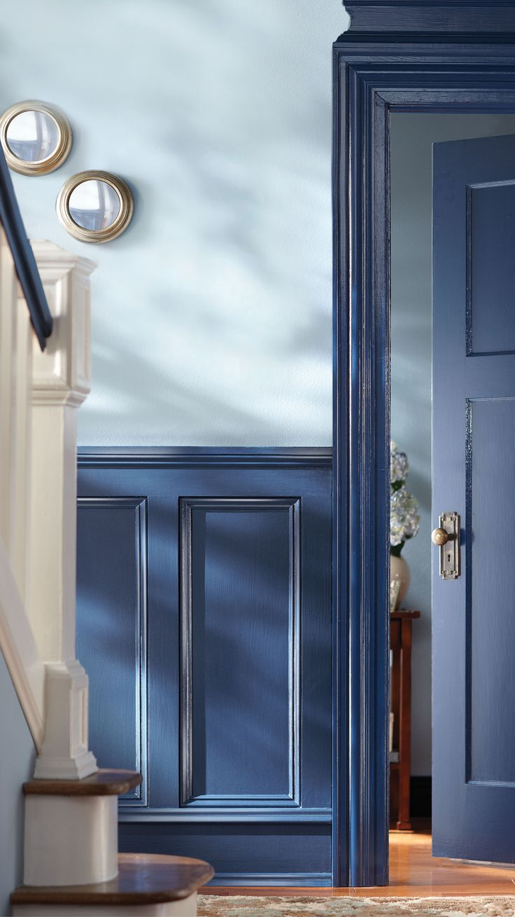 contrast is key for this paint palette loving the mixed shades of blue with home - Behr Home Decorators Collection