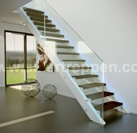 stairs wood with glass ballastrade